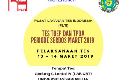 Tes TOEP dan TPDA Serdos 2019