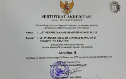 UPT Perpustakaan Universitas Sari Mulia Meraih Predikat Akreditasi B di Tahun 2020