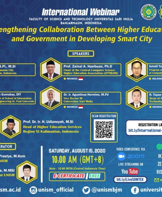 """Fakultas Sains dan Teknologi siap untuk """"INTERNATIONAL WEBINAR 2020 """"STRENGTHENING COLLABORATION BETWEEN HIGHER EDUCATION AND GOVERNMENT IN DEVELOPING SMART CITY"""""""""""